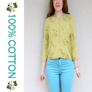 Green button up cotton sweater by Express